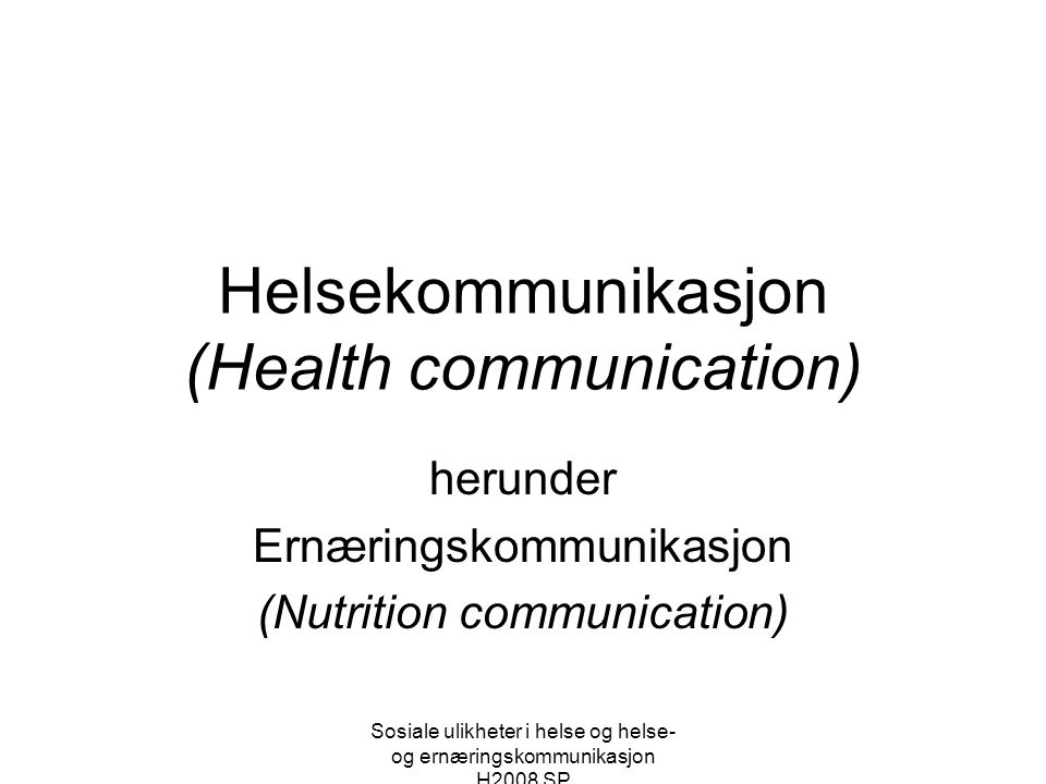 Helsekommunikasjon (Health communication)