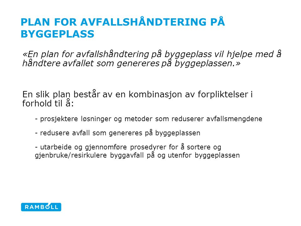 Plan for avfallshåndtering på byggeplass