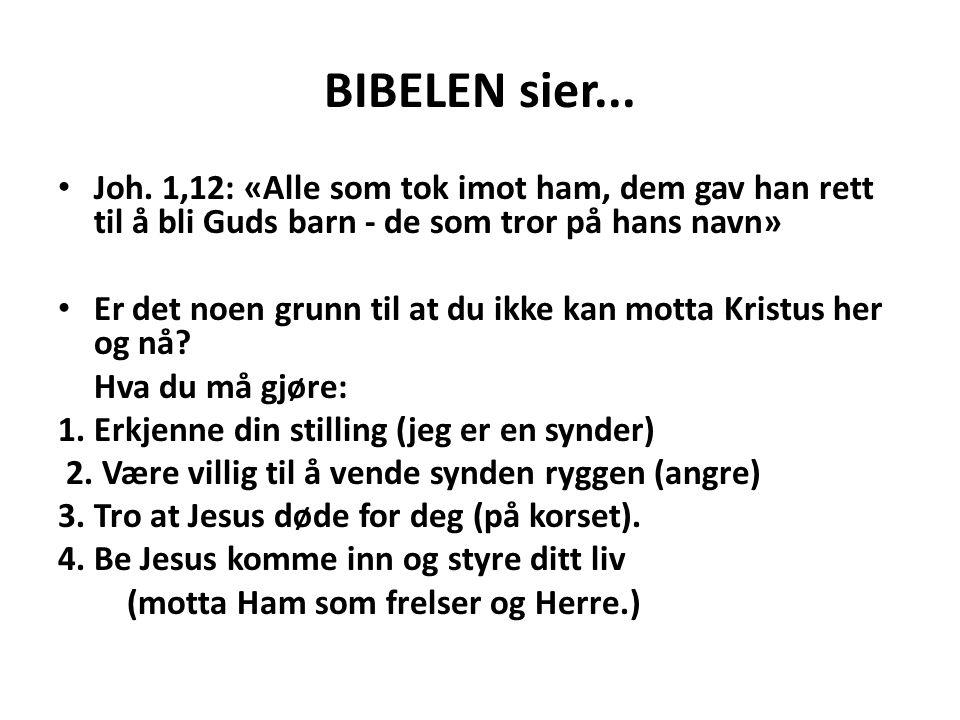 BIBELEN sier... Joh. 1,12: «Alle som tok imot ham, dem gav han rett til å bli Guds barn - de som tror på hans navn»