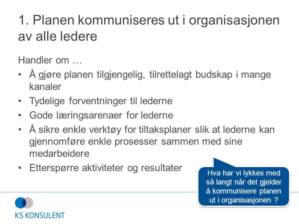 1. Planen kommuniseres ut i organisasjonen av alle ledere
