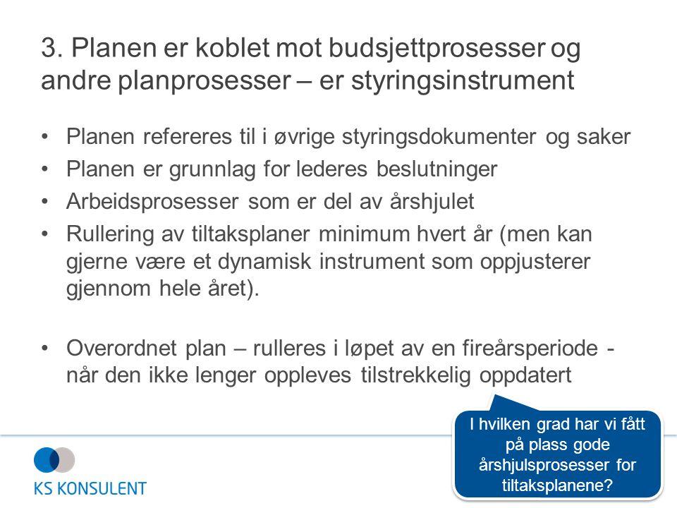 3. Planen er koblet mot budsjettprosesser og andre planprosesser – er styringsinstrument