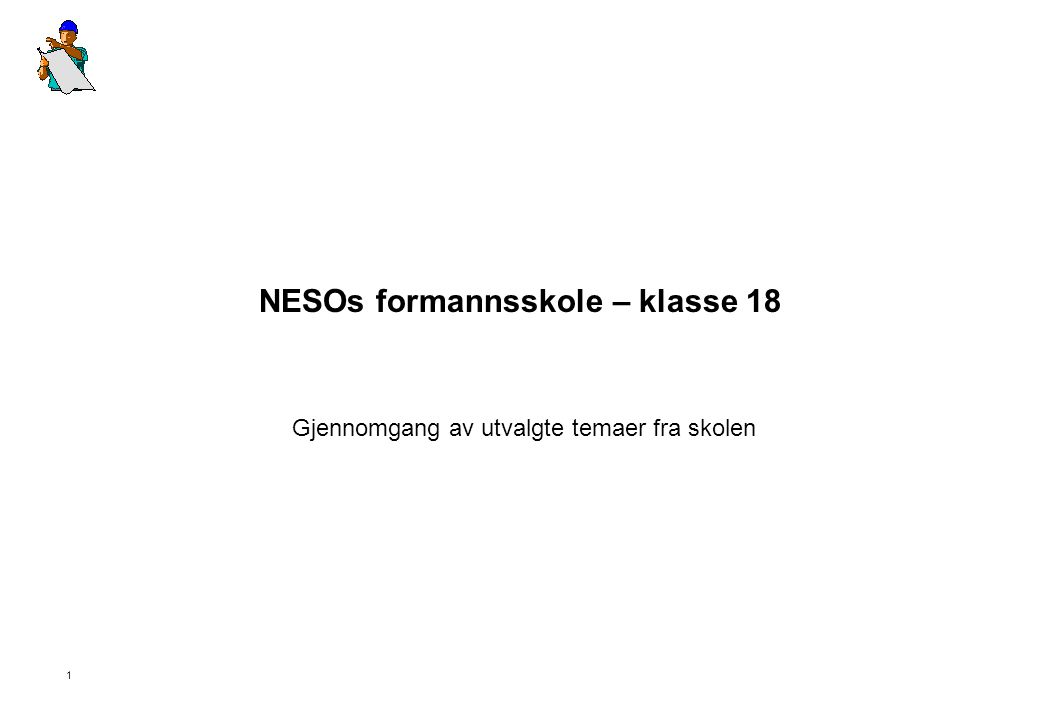 NESOs formannsskole – klasse 18