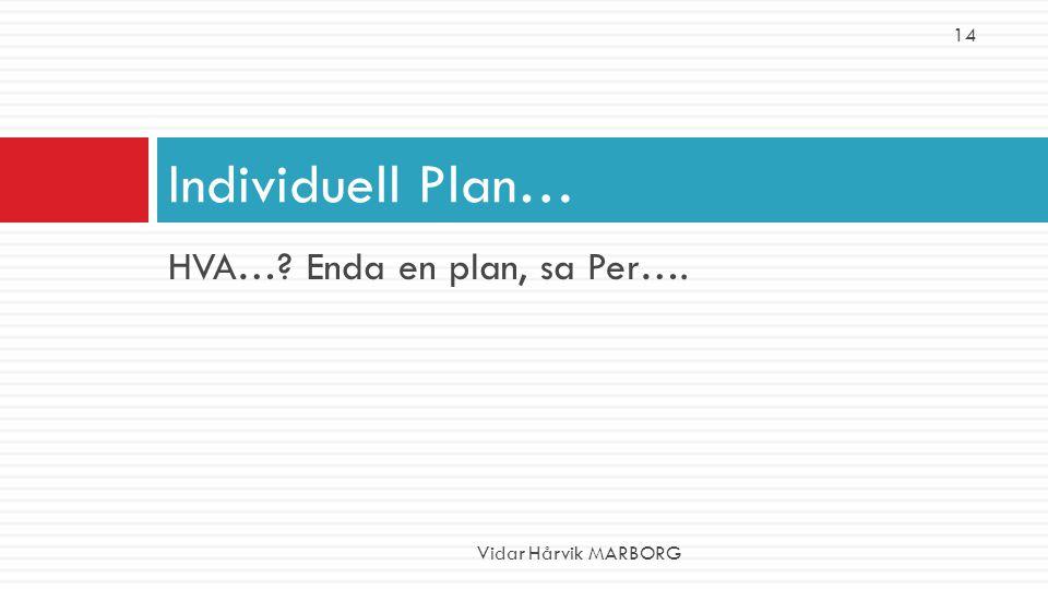 14 Individuell Plan… HVA… Enda en plan, sa Per…. Vidar Hårvik MARBORG
