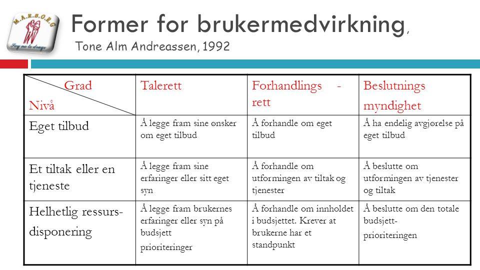 Former for brukermedvirkning, Tone Alm Andreassen, 1992