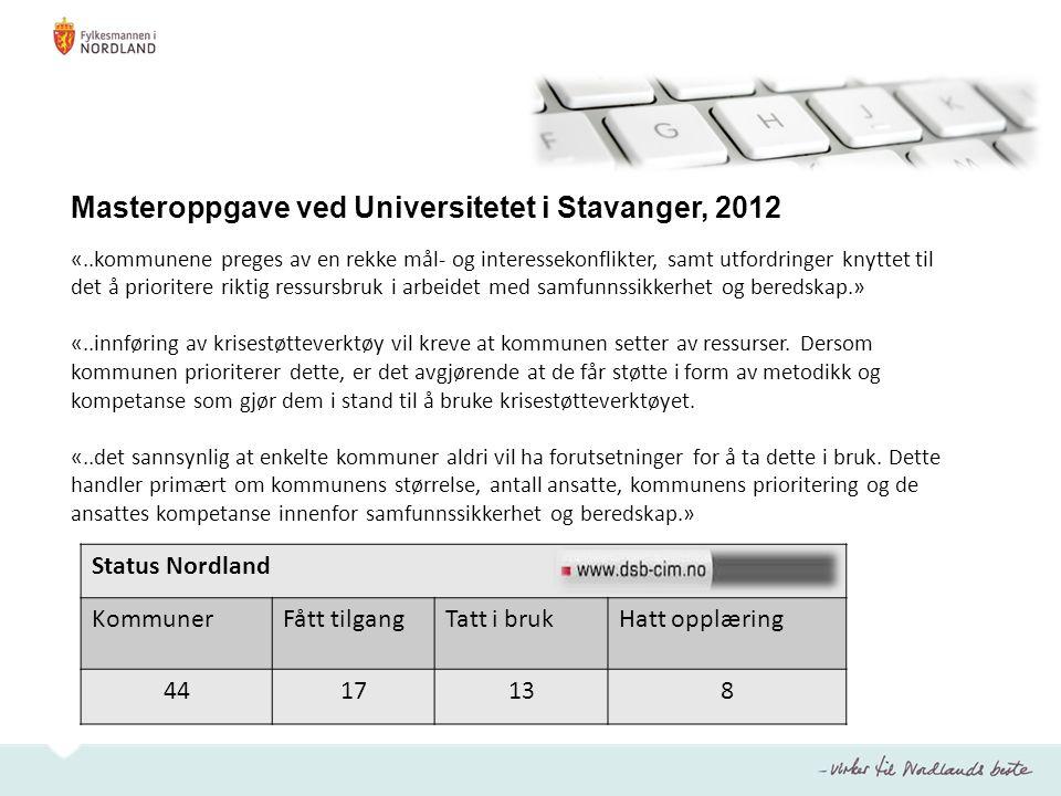 Masteroppgave ved Universitetet i Stavanger, 2012