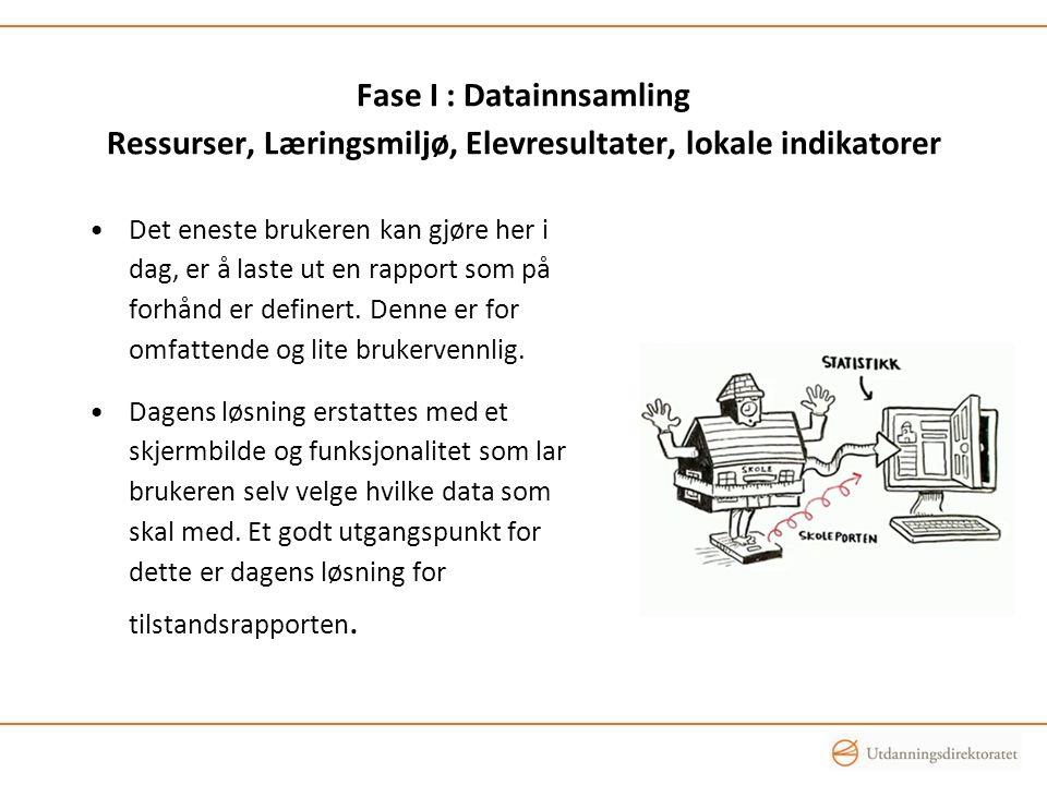 Fase I : Datainnsamling Ressurser, Læringsmiljø, Elevresultater, lokale indikatorer