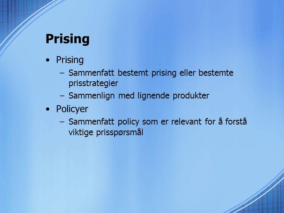 Prising Prising Policyer