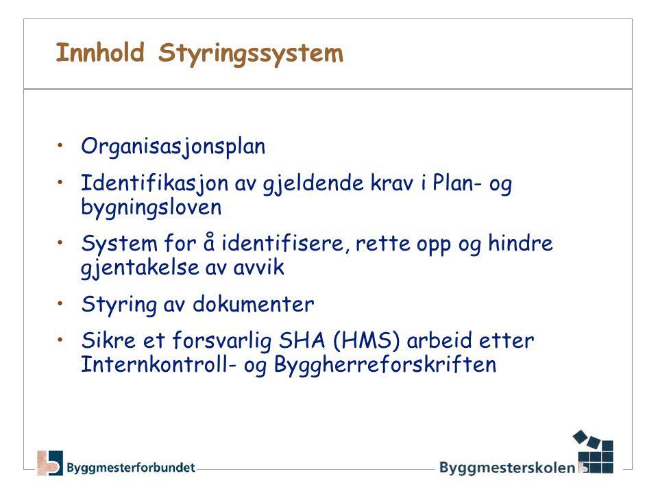 Innhold Styringssystem