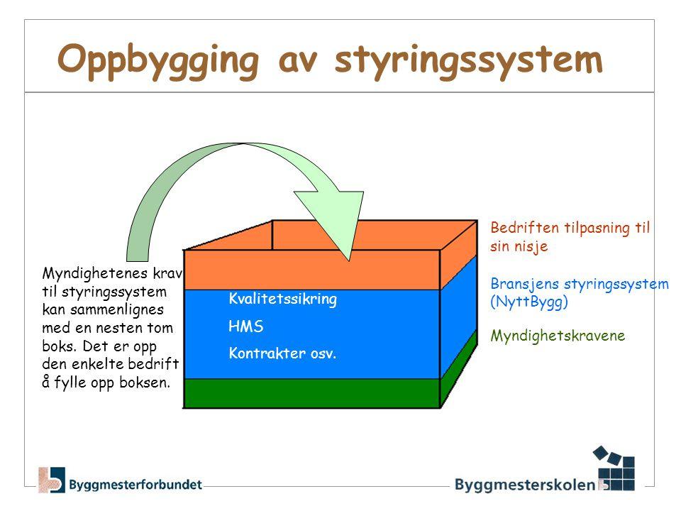 Oppbygging av styringssystem