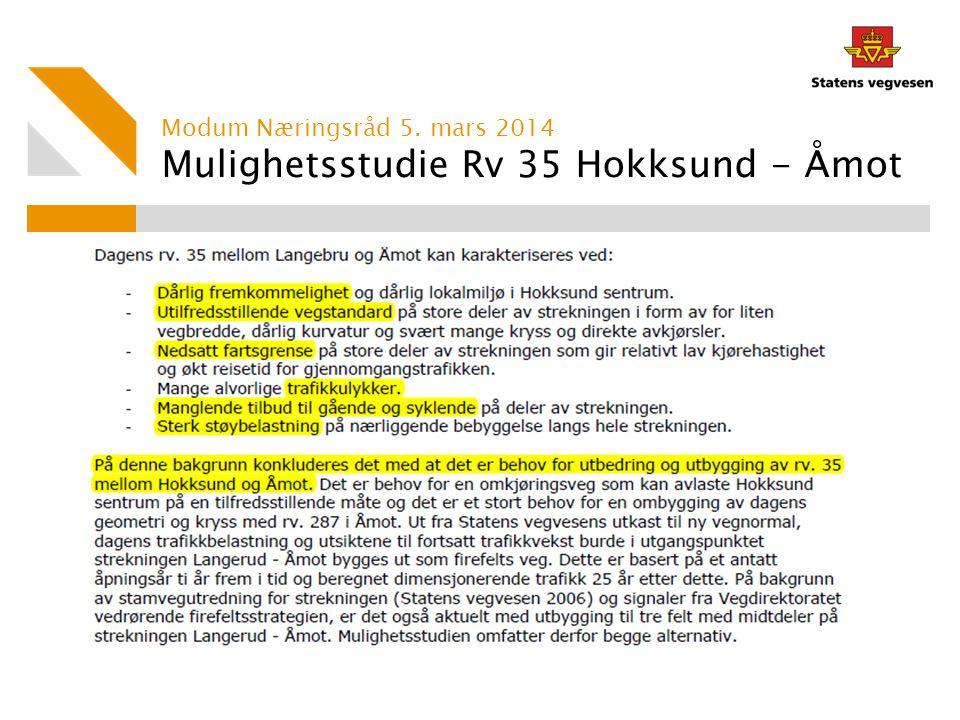 Mulighetsstudie Rv 35 Hokksund - Åmot