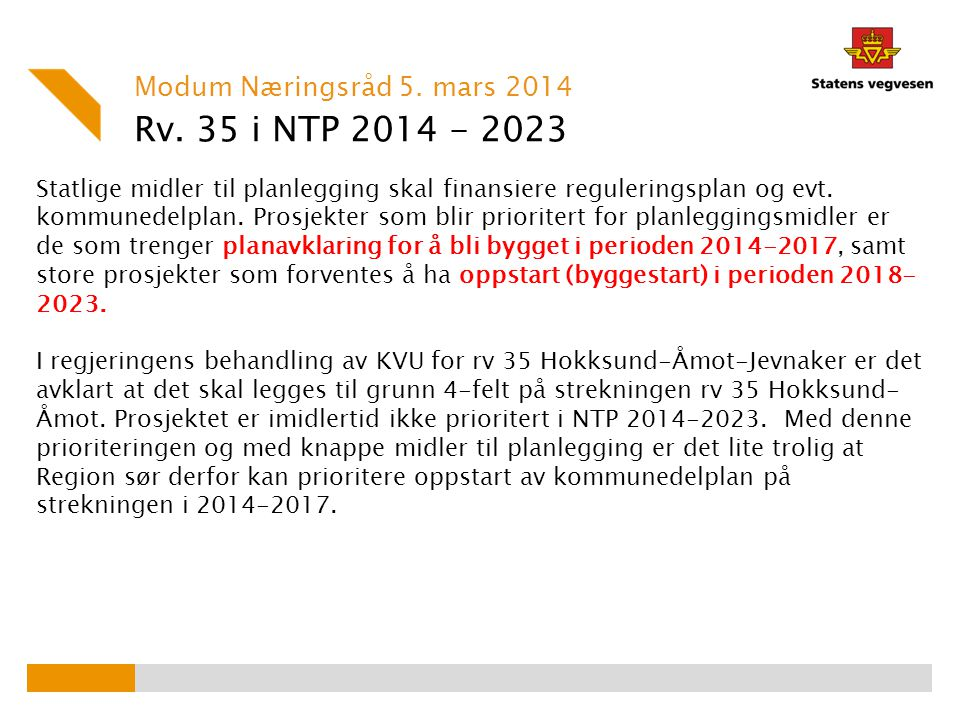 Rv. 35 i NTP 2014 - 2023 Modum Næringsråd 5. mars 2014