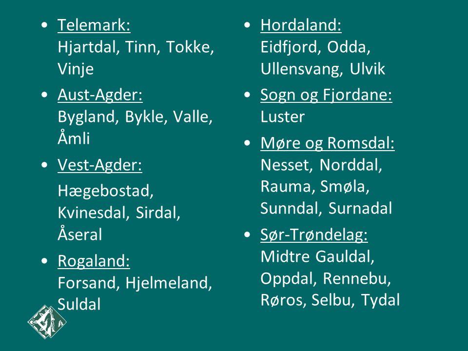Telemark: Hjartdal, Tinn, Tokke, Vinje