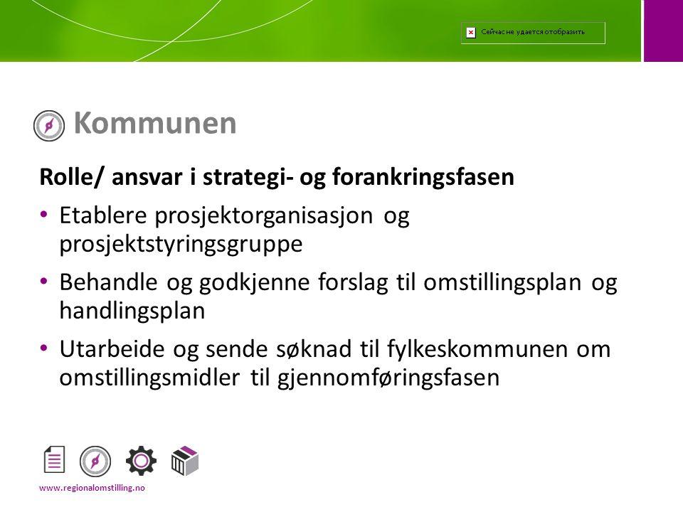Kommunen Rolle/ ansvar i strategi- og forankringsfasen