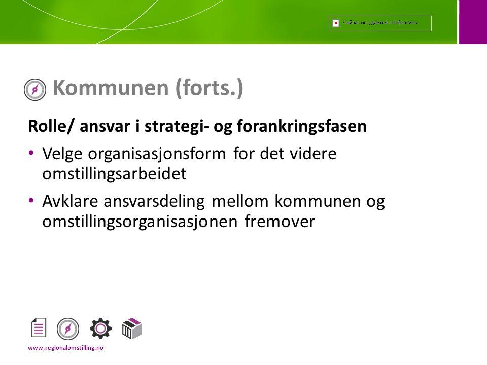 Kommunen (forts.) Rolle/ ansvar i strategi- og forankringsfasen