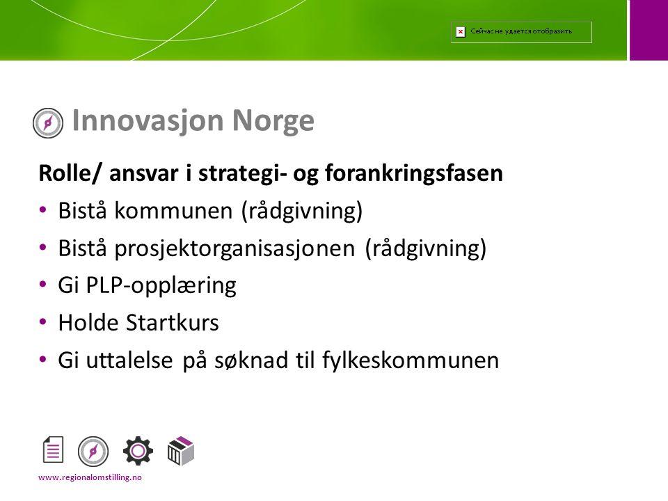 Innovasjon Norge Rolle/ ansvar i strategi- og forankringsfasen