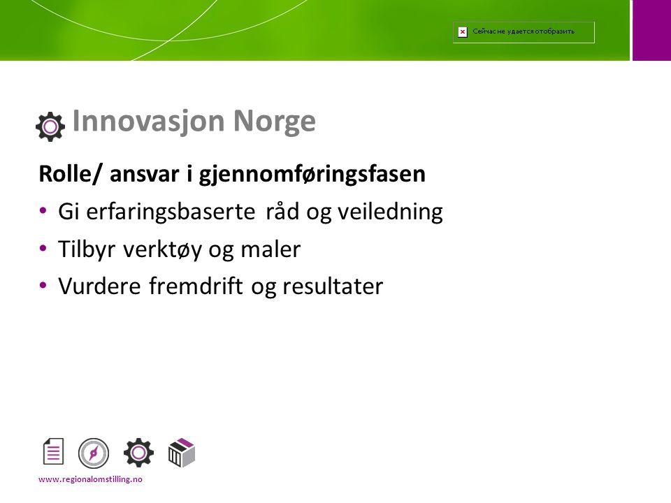 Innovasjon Norge Rolle/ ansvar i gjennomføringsfasen