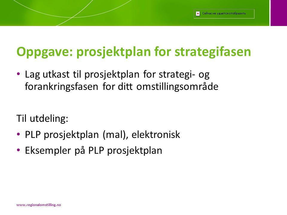 Oppgave: prosjektplan for strategifasen