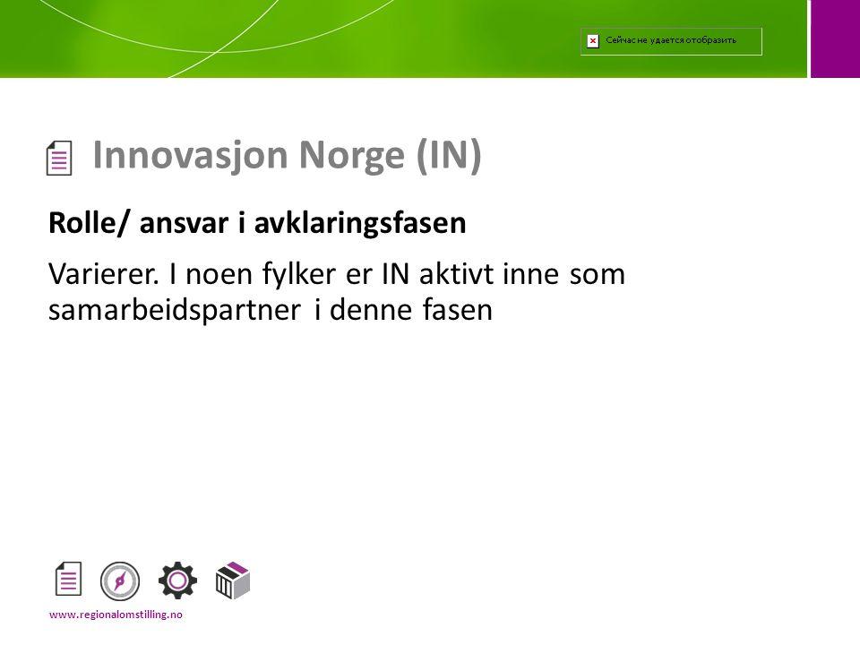 Innovasjon Norge (IN) Rolle/ ansvar i avklaringsfasen
