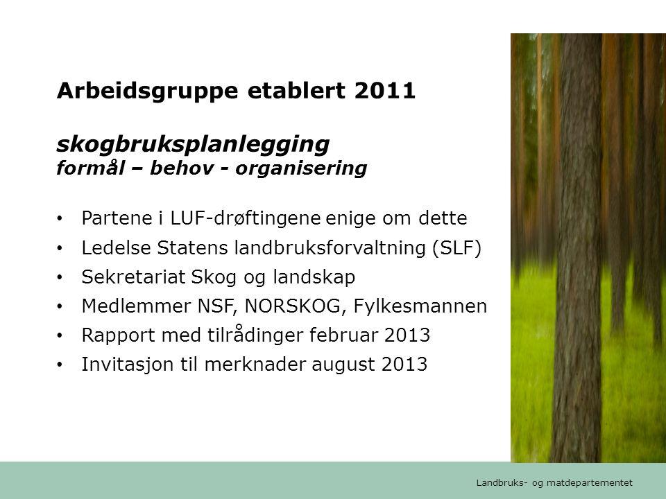 Arbeidsgruppe etablert 2011 skogbruksplanlegging formål – behov - organisering
