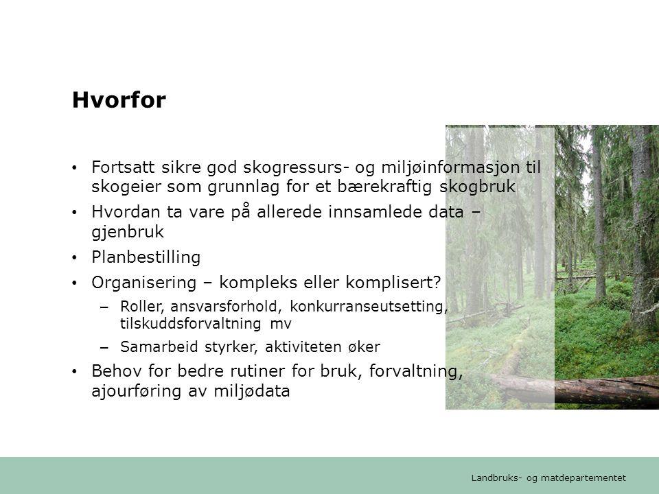 Hvorfor Fortsatt sikre god skogressurs- og miljøinformasjon til skogeier som grunnlag for et bærekraftig skogbruk.