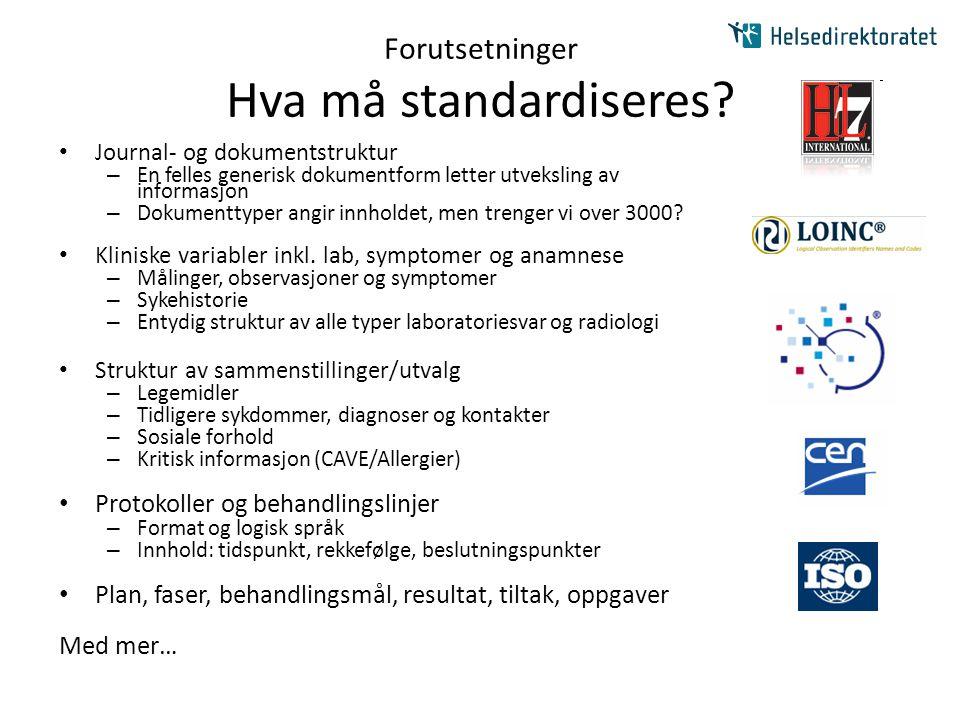 Forutsetninger Hva må standardiseres