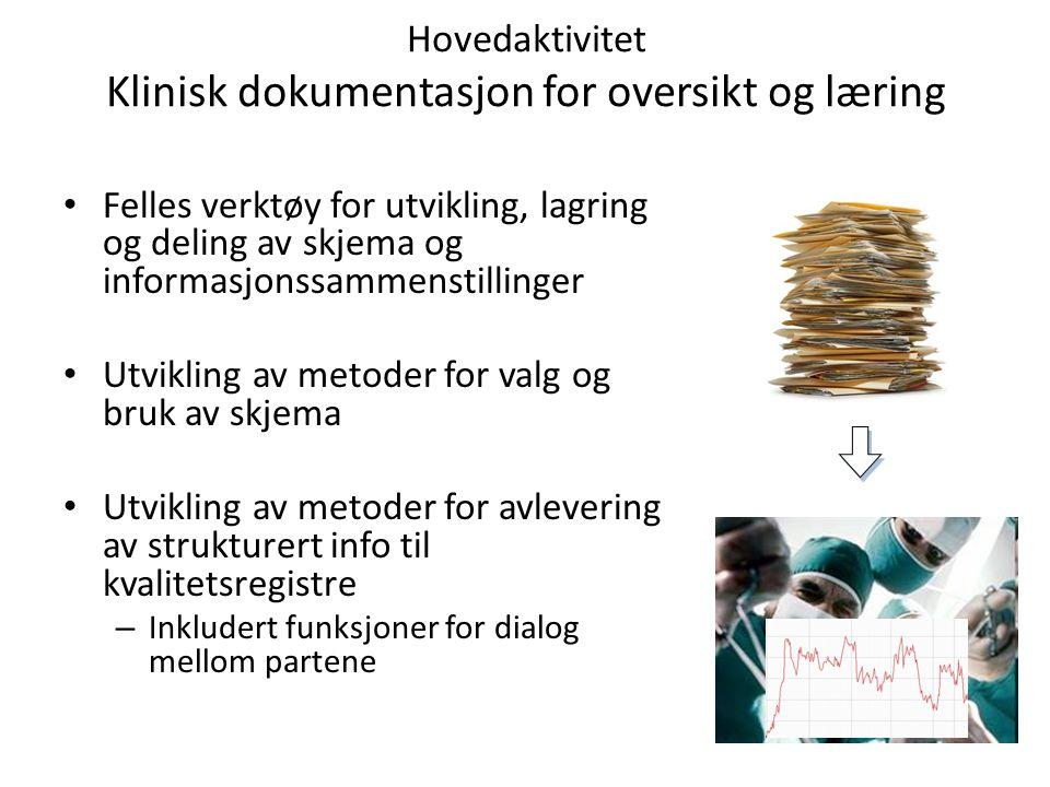 Hovedaktivitet Klinisk dokumentasjon for oversikt og læring