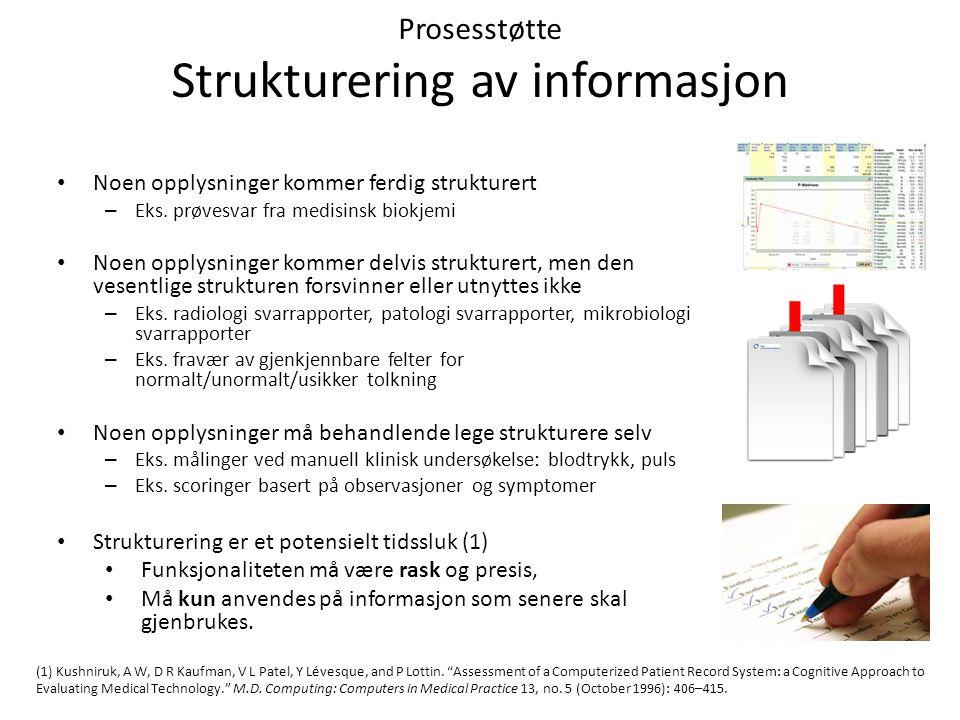 Prosesstøtte Strukturering av informasjon