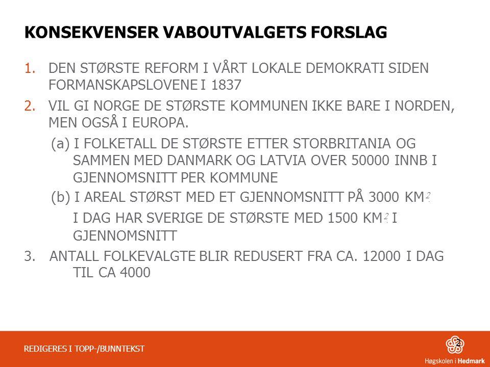 KONSEKVENSER VABOUTVALGETS FORSLAG