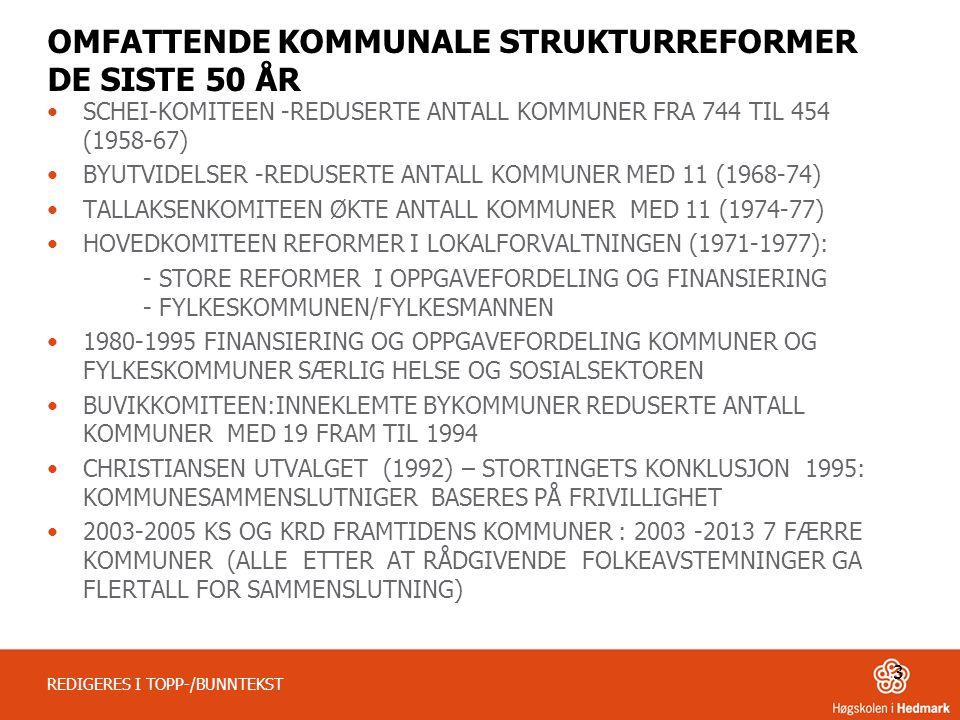 OMFATTENDE KOMMUNALE STRUKTURREFORMER DE SISTE 50 ÅR