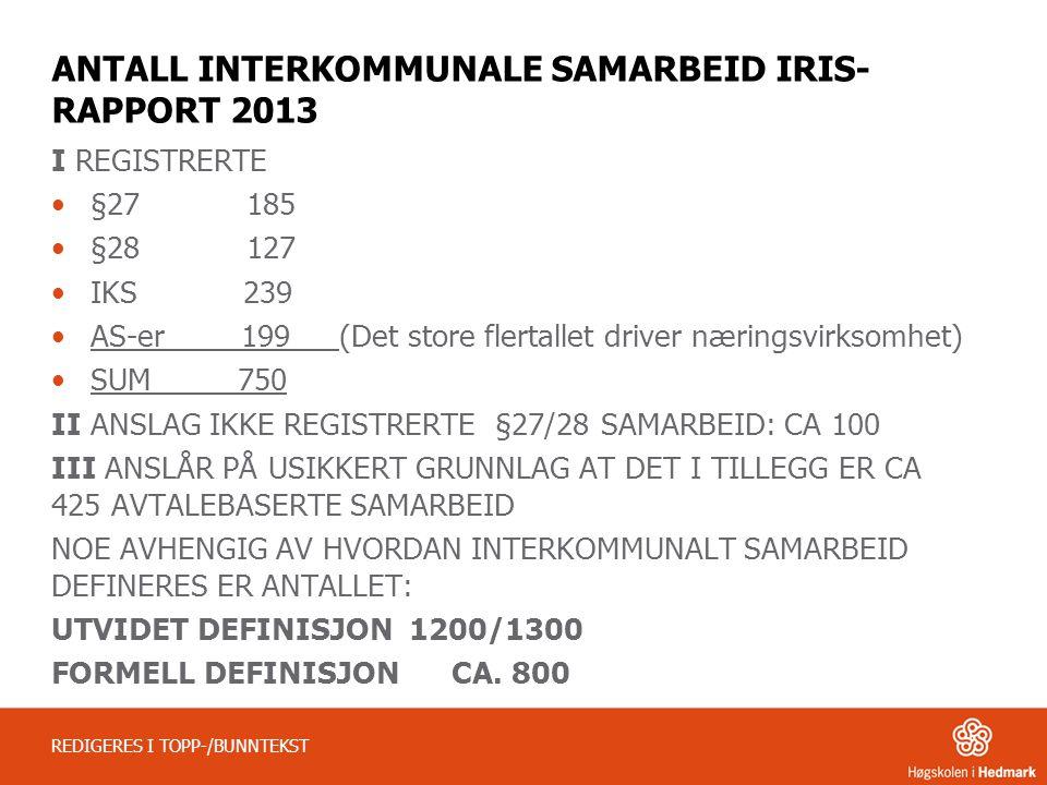 ANTALL INTERKOMMUNALE SAMARBEID IRIS-RAPPORT 2013