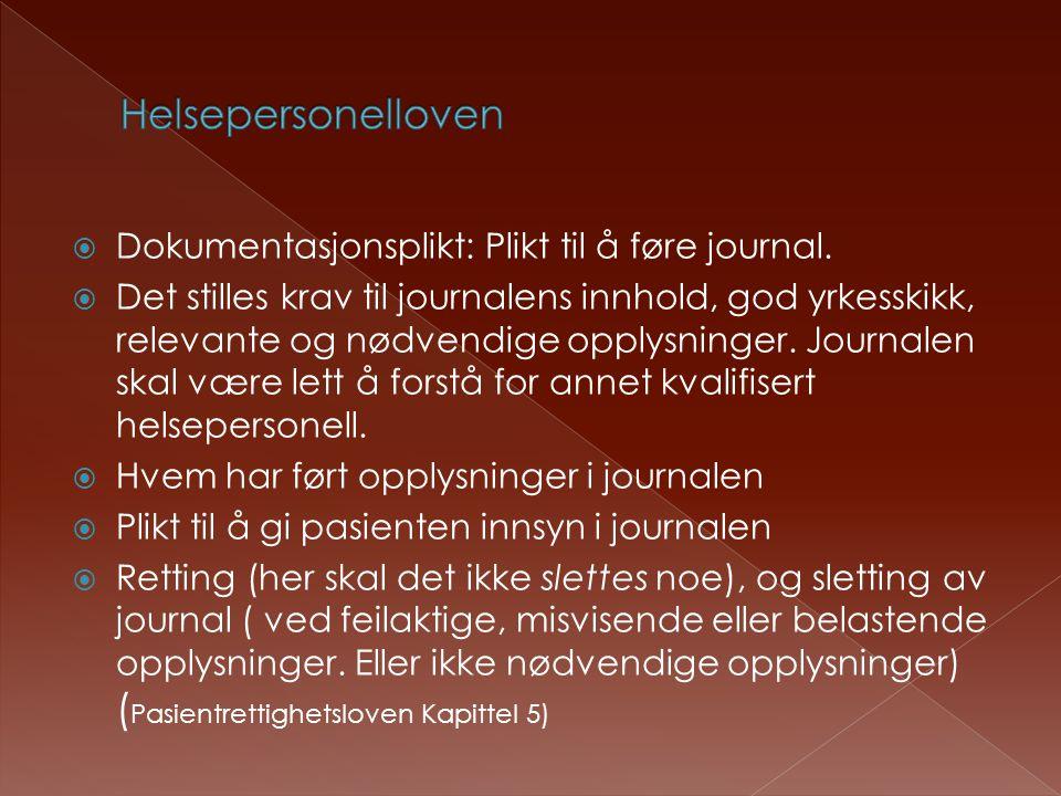 Helsepersonelloven Dokumentasjonsplikt: Plikt til å føre journal.