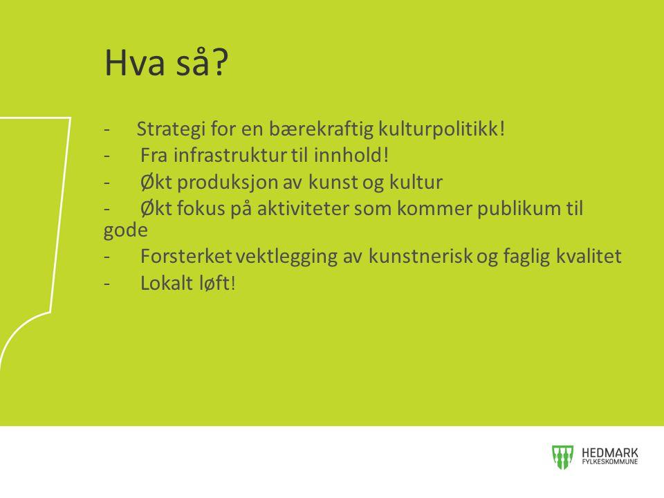 Hva så Strategi for en bærekraftig kulturpolitikk!