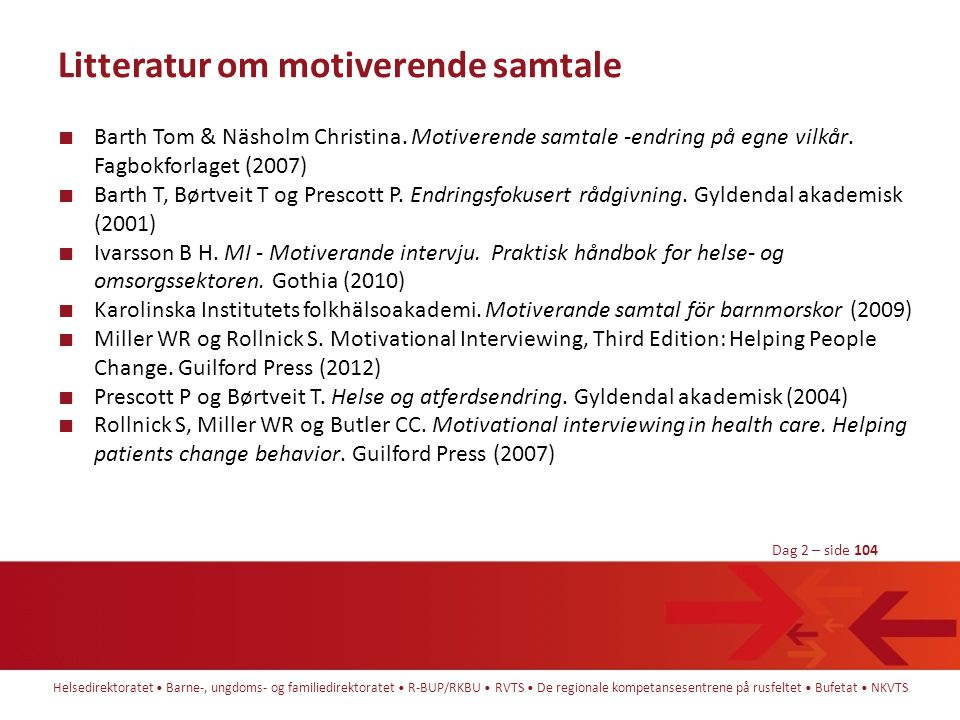 Litteratur om motiverende samtale