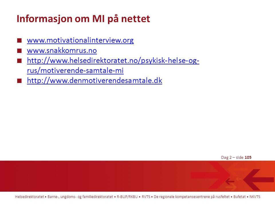 Informasjon om MI på nettet