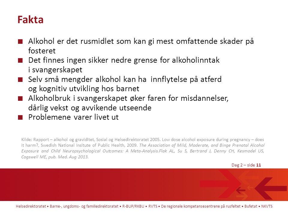 Fakta Alkohol er det rusmidlet som kan gi mest omfattende skader på fosteret.