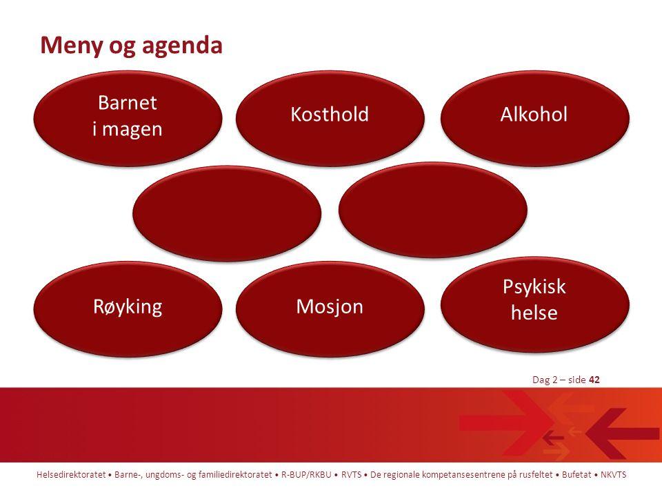 Meny og agenda Barnet i magen Kosthold Alkohol Psykisk helse Røyking
