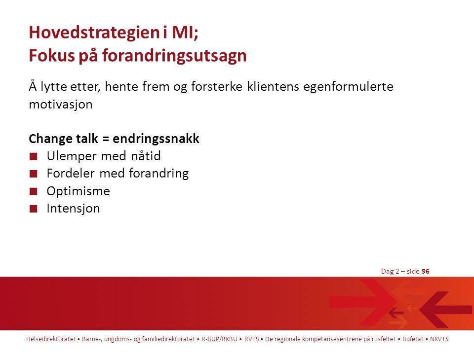 Hovedstrategien i MI; Fokus på forandringsutsagn