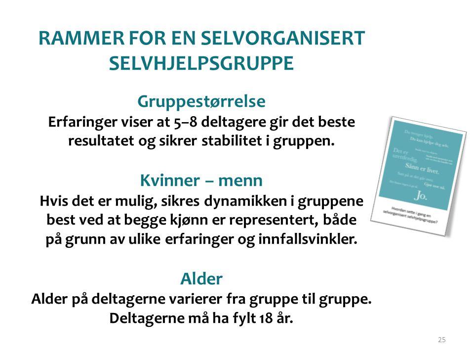 RAMMER FOR EN SELVORGANISERT SELVHJELPSGRUPPE