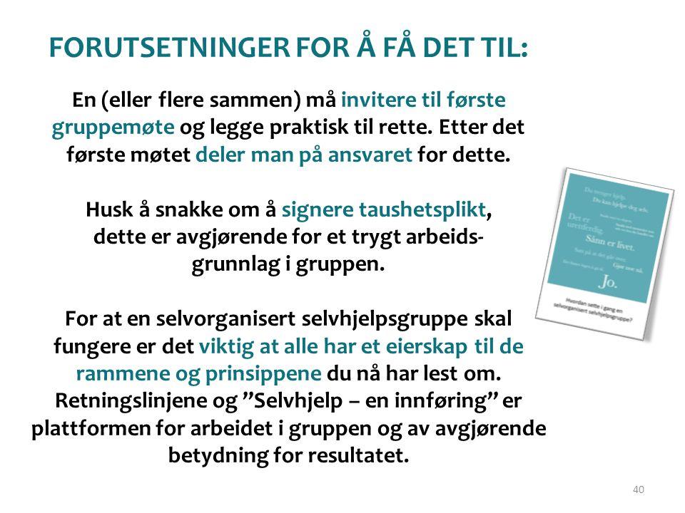 FORUTSETNINGER FOR Å FÅ DET TIL: