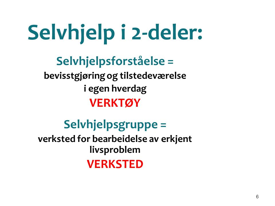Selvhjelp i 2-deler: Selvhjelpsforståelse = VERKTØY Selvhjelpsgruppe =