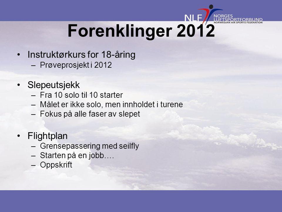 Forenklinger 2012 Instruktørkurs for 18-åring Slepeutsjekk Flightplan