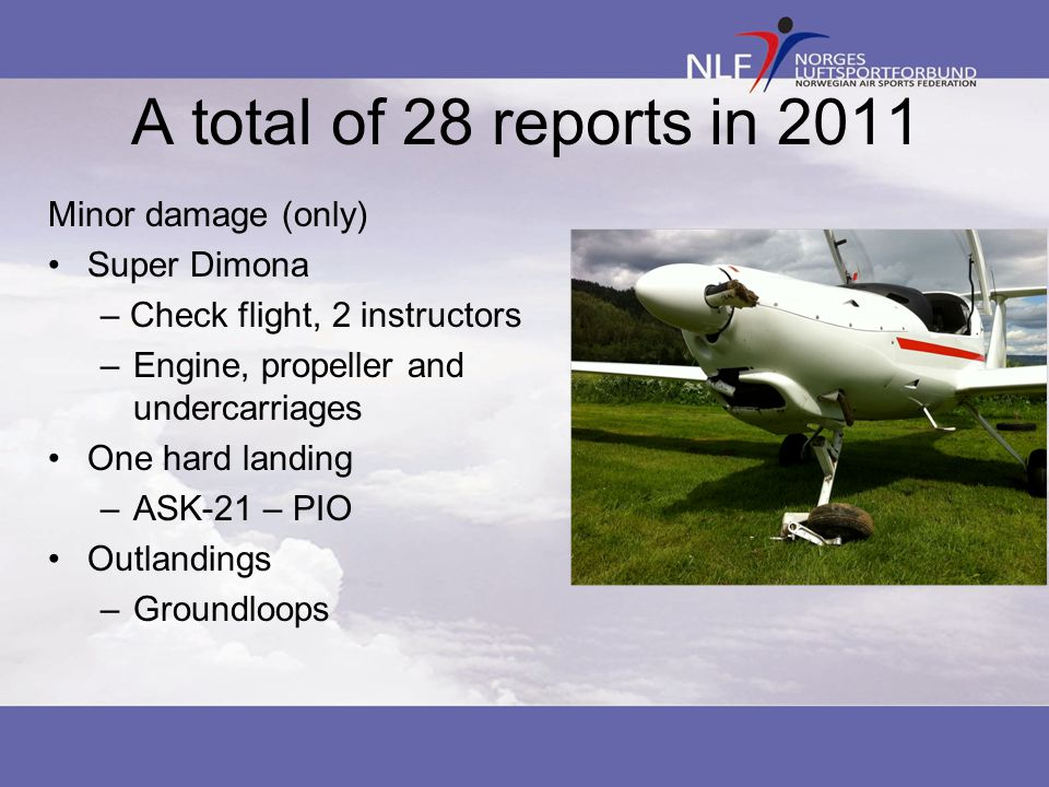 A total of 28 reports in 2011 Minor damage (only) Super Dimona