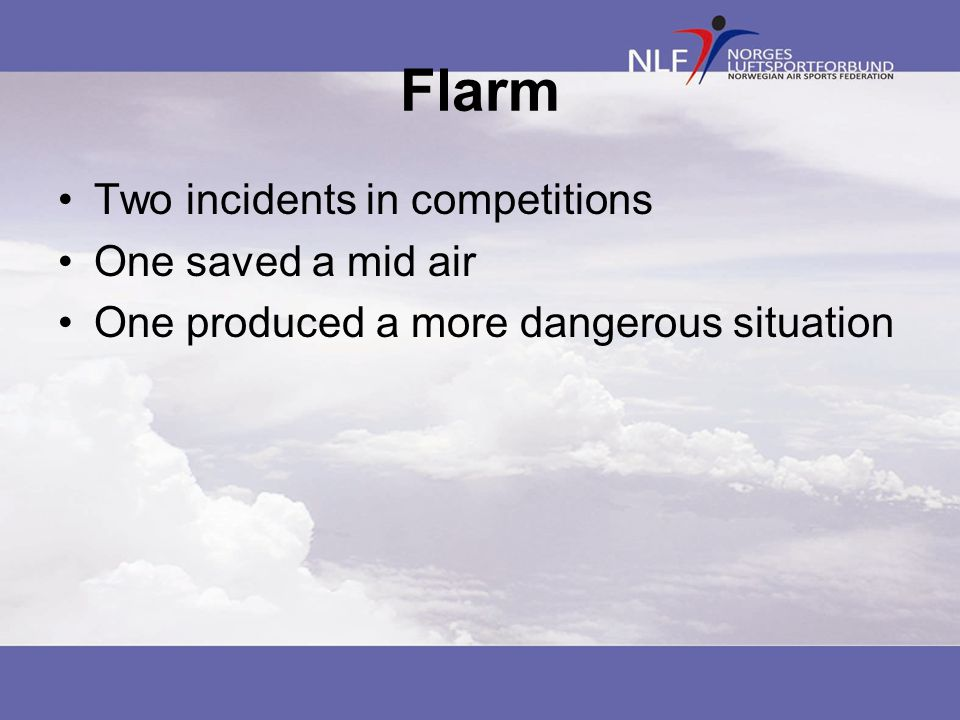 Flarm Two incidents in competitions One saved a mid air