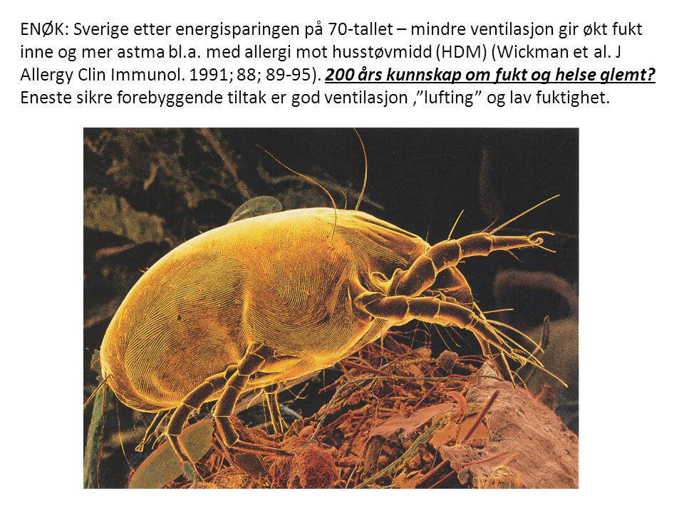 ENØK: Sverige etter energisparingen på 70-tallet – mindre ventilasjon gir økt fukt inne og mer astma bl.a.