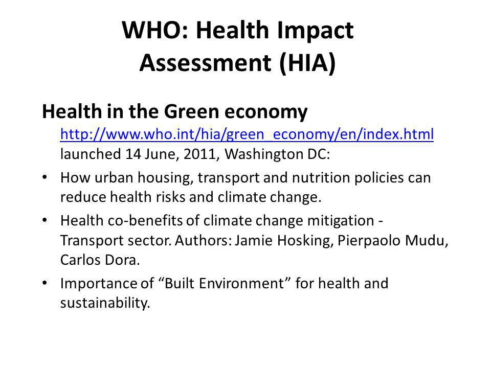 WHO: Health Impact Assessment (HIA)