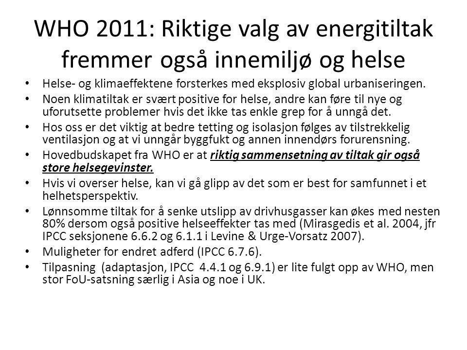 WHO 2011: Riktige valg av energitiltak fremmer også innemiljø og helse