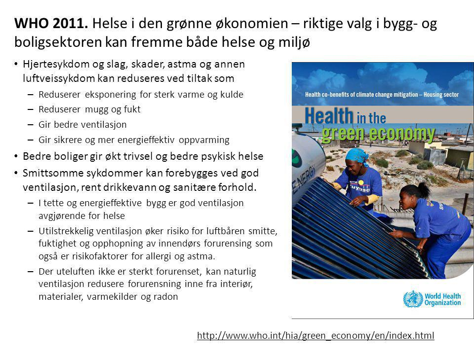 WHO 2011. Helse i den grønne økonomien – riktige valg i bygg- og boligsektoren kan fremme både helse og miljø