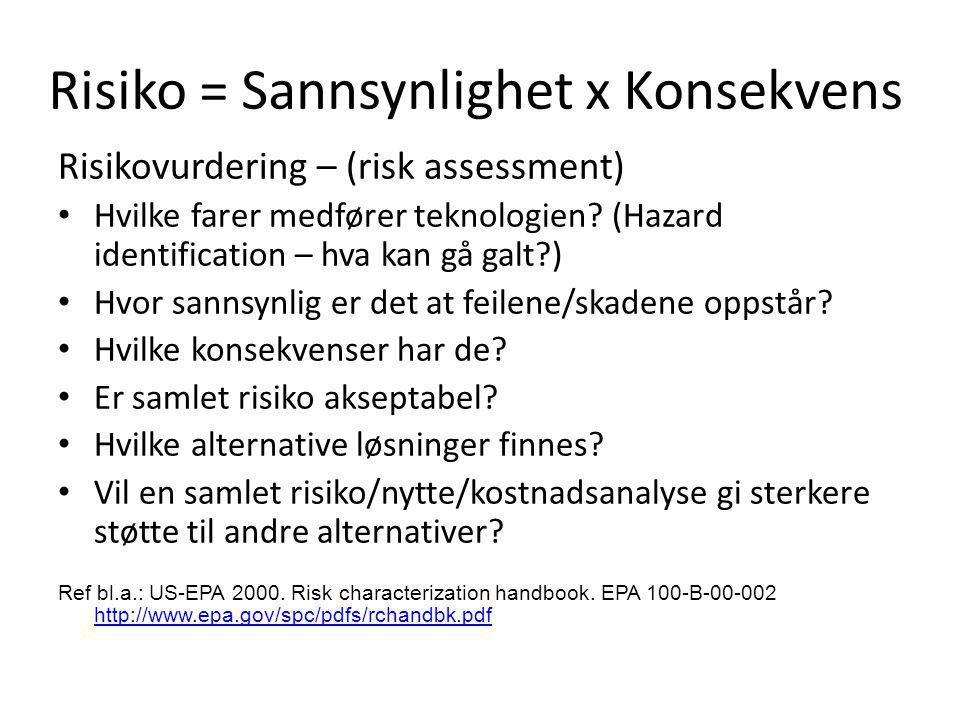 Risiko = Sannsynlighet x Konsekvens