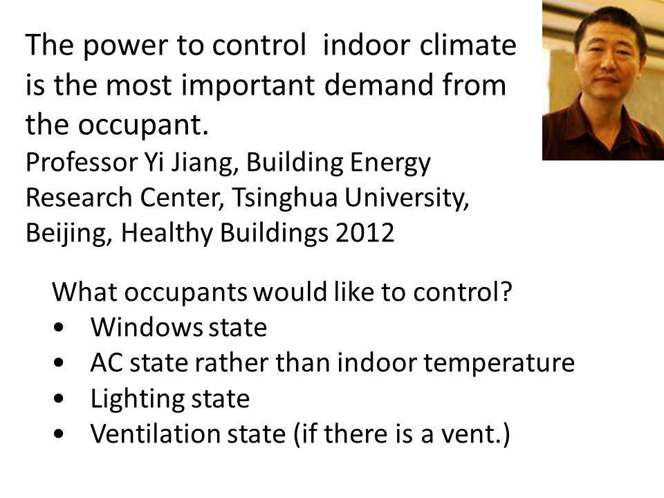 The power to control indoor climate is the most important demand from the occupant. Professor Yi Jiang, Building Energy Research Center, Tsinghua University, Beijing, Healthy Buildings 2012