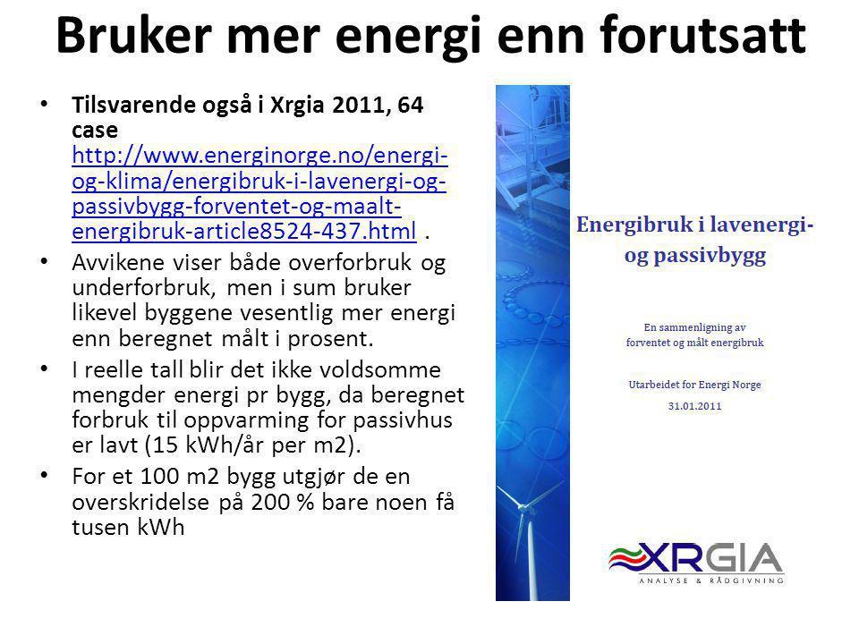 Bruker mer energi enn forutsatt